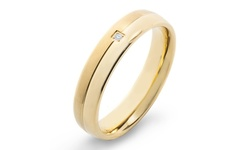 West Coast Men's Titanium Diamond Accent Comfort Fit Ring - Gold