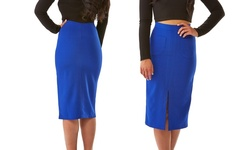 Sociology Crepe Pencil Skirt Pockets & Front Slit - Blue - Size: Medium