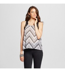 Almost Famous Women's Chevron Crochet Tank Top - Multi - Size: Small