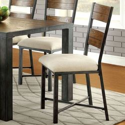 Furniture of America Metal Frame Wood Chair Set of 2 - Weathered Oak