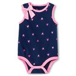 Circo Baby Girl's Bodysuit - Navy Heart Print - Size: NB