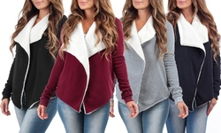Kelsey Women's Draped Cardigan with Sherpa Lining - Burgundy - Size: M