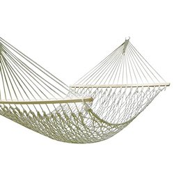 """[Hot Season, Hot Deal!] Adeco Woven Rope Cotton Fabric Canvas Hammock with Spreader Bar Tree Hanging Suspended Outdoor Indoor Bed Natural Color 60"""" Wide"""