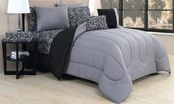 Geneva Home 9 Piece Biab Set - Animal Black/Grey - Size: Queen