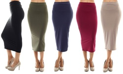 Chalmon's Women's Midi Pencil Skirts 5PK - Multi - Size: Large