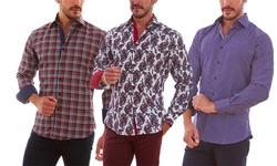 Azaro Uomo Men's Slim Fit Button Down Shirt - White - Size: Medium