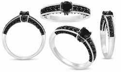 SuperJeweler Women's 1CT Black Diamond Ring Sterling Silver - Size: 6