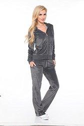 Velour Lounge Suit Two-Piece Set: Charcoal/XL