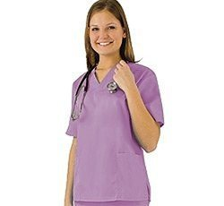 Women's Scrub Set - Medical Scrub Top and Pant, Lilac, X-Large
