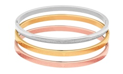 Ladies Tri-Color Textured Hinge Bangles - Size: 7""
