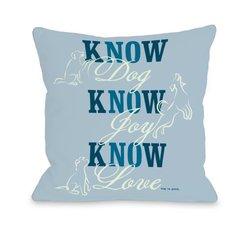 """Bentin Pet Decor Know Dog Throw Pillow - Blue - Size: 18"""" x 18"""""""