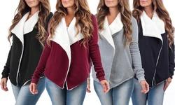Melange Women's Draped Kelsey Sherpa Lining Cardigan - H Grey - Size: XL