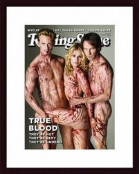 Printfinders Rolling Stone Volume 1112 Cover of Cast of True Blood Wood Framed Art Print