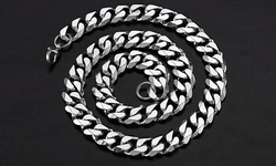 Men's Cuban Curb Black-Ion Plated Stainless Steel Chain - Silver