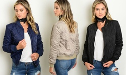 Women's Junior Quilted Bomber Jacket - Navy - Size: Large