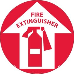 NMC Walk On Floor Sign with Fire Extinguisher Graphic - Red/White