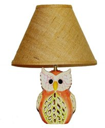 A Ray of Light Owl Lamp with Brown Burlap Shade
