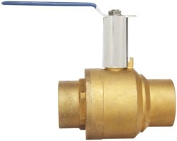"Milwaukee Valve BA-485B-xH Series Brass Ball Valve with Extension Stem, Two Piece, Inline, Lever, 1-1/2"" Solder End"