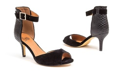French Blu Candice Peep-Toe D'Orsay Heels - Black Suede/Snake - Size: 9