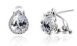 Omega French Clip Halo Stud Earrings - Crystal
