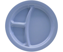 "Carlisle 3 Compartment Plate Polycarbonate - Slate Blue - Sie: 9"""