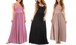 Women's Long Ruched Dress: Mauve/large