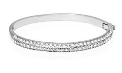 18K White Gold Plated   Swarovski Crystal Bar Bangle