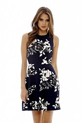 AX Paris Women's Sleeveless Floral Skater Mini Dress - Navy - Size: 6