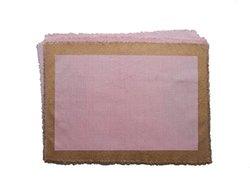 "Gitika Goyal 12x17"" Cotton Khadi Gold Screen Printed Mat- Set of 4- Pink"