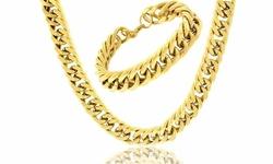 ReLex Men's 18K Cuban Miami Necklace & Bracelet Set 2Pcs - Gold