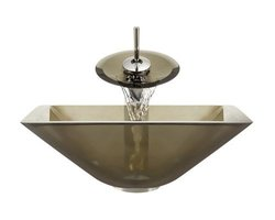 Aurora Sinks G03-Desert-C-V Bathroom Ensemble with Pop Up Drain, Desert Glass Vessel, Sink, Ring and Waterfall Faucet, Chrome