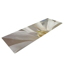 "KESS InHouse Robin Dickinson First Signs Exercise Yoga Mat, White Floral, 72"" by 24"""