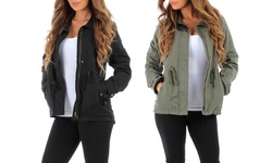 RubyK Women's Lined Military Jacket - Olive - Size: Large