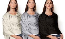 Azuri Women's Pashmina Shawl 3 Pack - Orchid/Silver/Ivory - Size: One Size