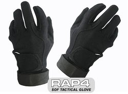Rap4 SOF Tactical Gloves for Paintball - Black - Size: Medium