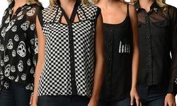 Merona Women's Printed Chiffon Blouse - Black Checker - Size: 3X