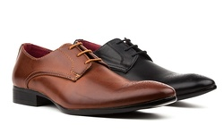 Royal Men's Plain Toe Dress Shoes: Brown/11