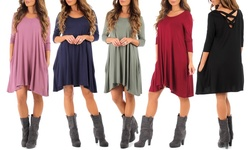 Women's Long Sleeve Cross Back Dress: Burgundy/Medium