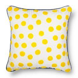 "Threshold Crewel Embroidery Polka Dot Pillow - Yellow - Size: 18""Lx18""W"