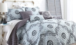 6 Piece Reversible Quilt Set - Delany - Size: Queen (3QLT6STG-DLY-QN)