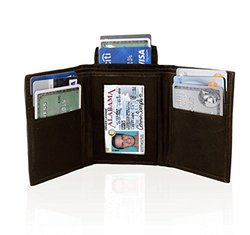 AFONiE Genuine Leather Trifold Wallet for Men - Brown
