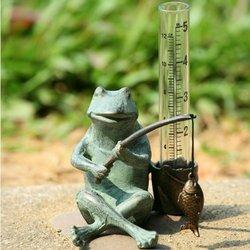 SPI Home 33456 Frog Fisherman Rain Gauge