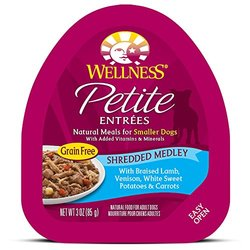 Wellness Petite Entrees Shredded Medley Grain Free Natural Wet Small Breed Dog Food, Braised Lamb & Venison, 3-Ounce Cup (Pack of 24)