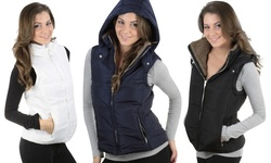 Womens Faux Sheraling Hooded Vest: Black/small