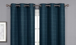 "Wexley Home 38x84"" Textured Foam-Back Blackout Curtain Panel Pair - Indigo"