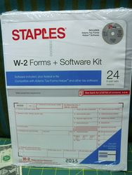 Staples W-2 6-part Form Sets and Software Kit - 24 Count Pack