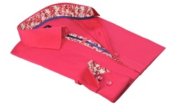 Rosso Milano Men's Modern Fit Button-Down Shirts - Fuchsia - Size: XL