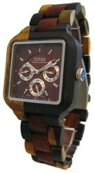 Tense Multicolored Natural Wood Square Dial Watch Multi-Eye B7305IDM