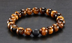 Men's Natural Healing Stone Stretch Bracelet - Tiger Eye