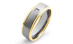 Men's Gold Plated Titanium Diamond Accent Brushed Comfort Fit Ring -Size:8